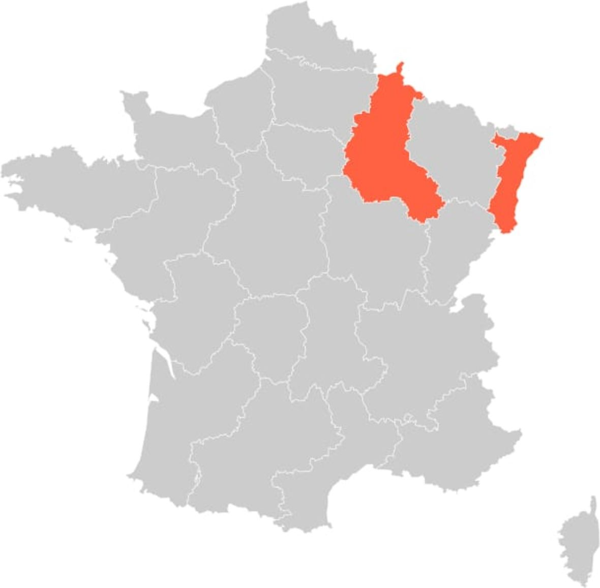 France Alsace and Champagne Region Map