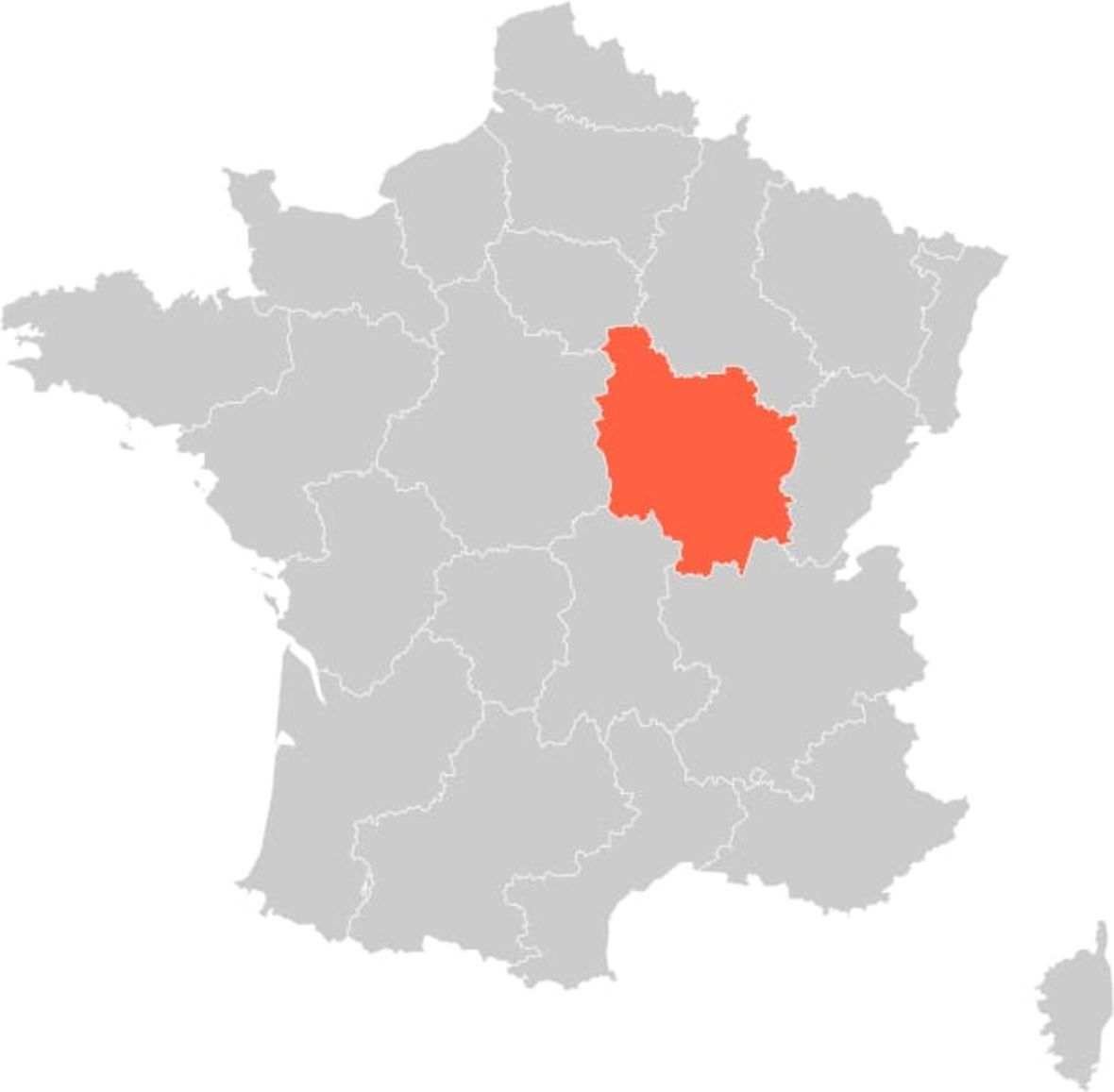 France Burgundy Region Map
