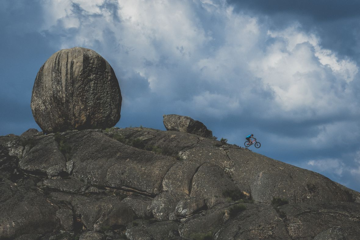 Riding the other-worldly rock formations near Alpotrel Lake.