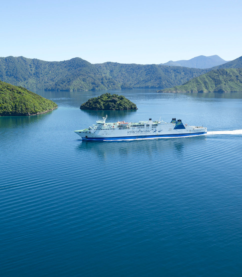 Sail away via the Cook Strait and watch out for some friendly dolphins
