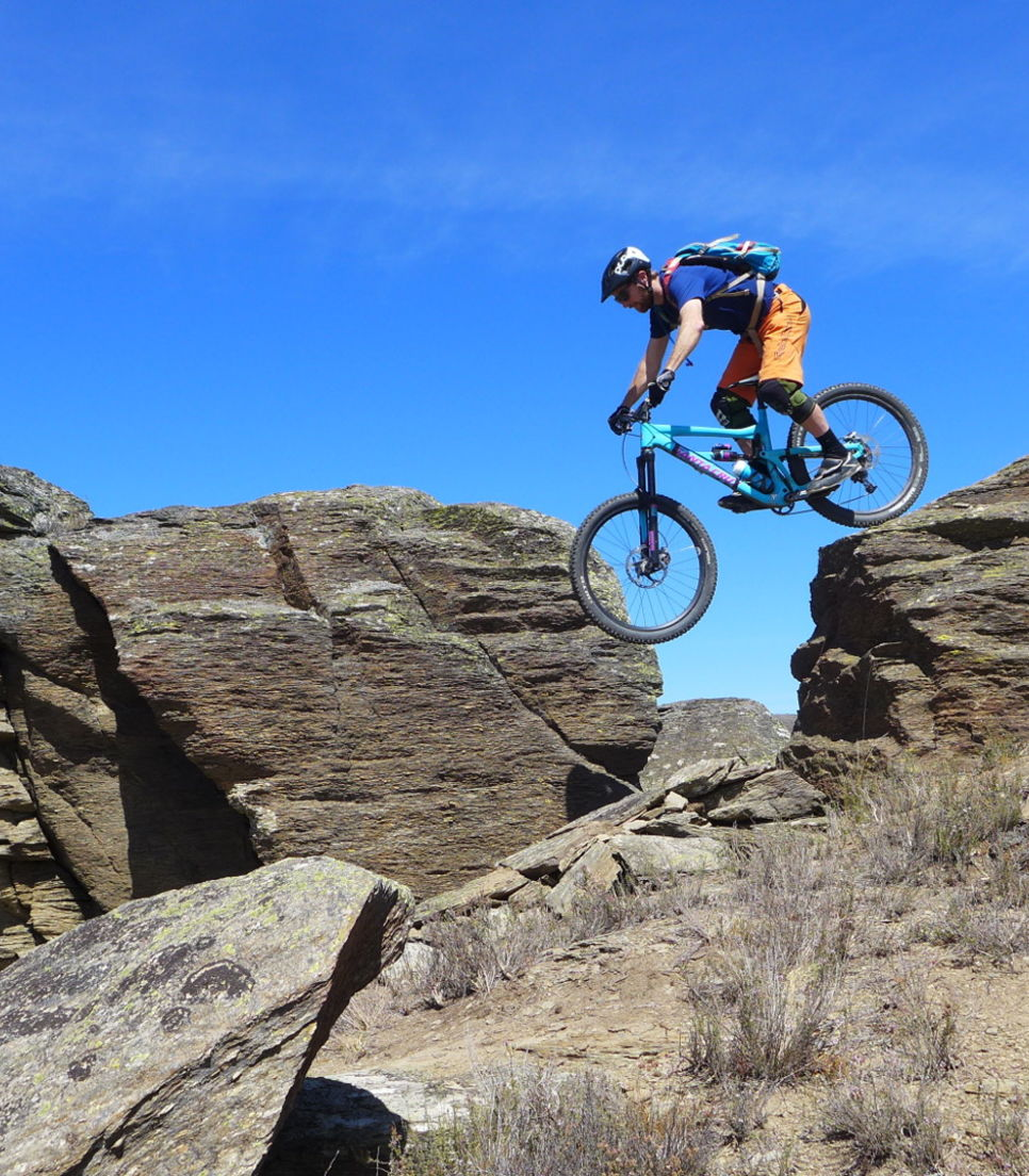 Gravity rides down Coronet Peak rock!