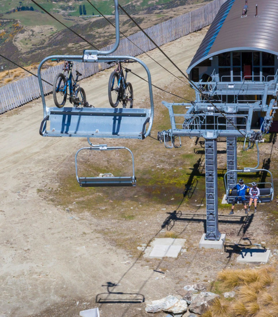 Take the lift up, then pick one of 27 trails down