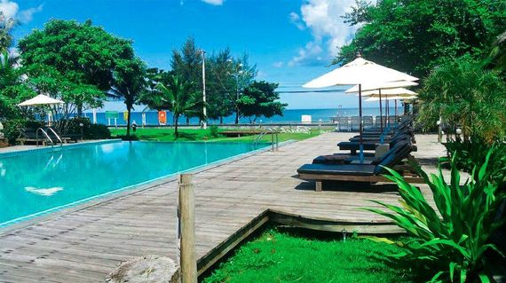 A charming beach front resort with lovely gardens