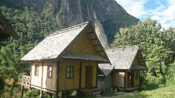 An eco lodge in a rustic small town.