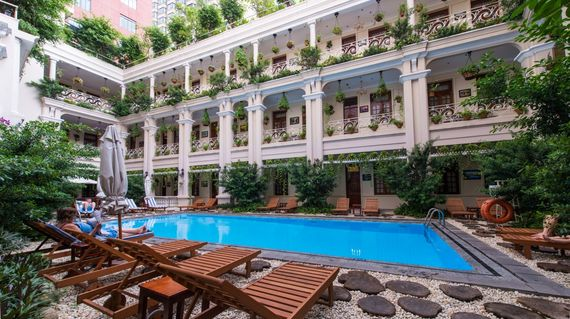 A restored 1930s luxe hotel overlooking the Saigon River.