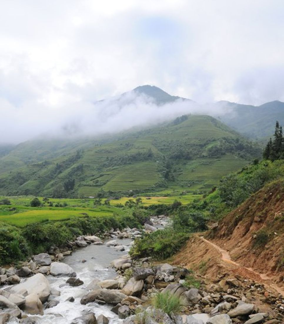 Be transported to paradise with scenic mountain views and fresh looking rice paddies