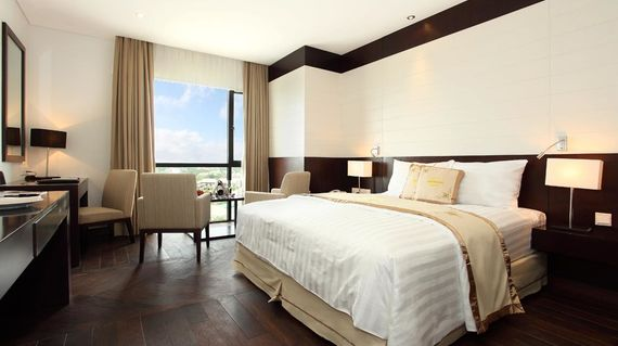 A luxury hotel in an area bustling with business and entertainment.
