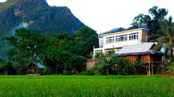 After the first day's riding, you will love the accommodation for the night in a Thai ethnic stilt house in the Mai Chau Valley