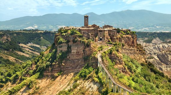 The medieval hilltop town of Civita di Bagnoregio will mesmorize you with its enchanting romantic beauty