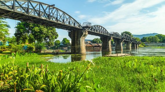 In Kanchanaburi, there will be time to visit the famous bridge before retiring to your hotel on the river banks