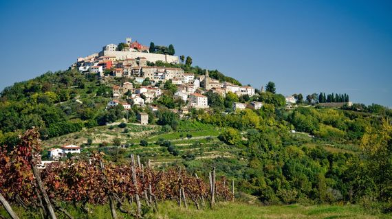 The idyllic view of picturesque Motovun is reminiscent of the Italian Tuscan landscape, beautiful with great tasting wine