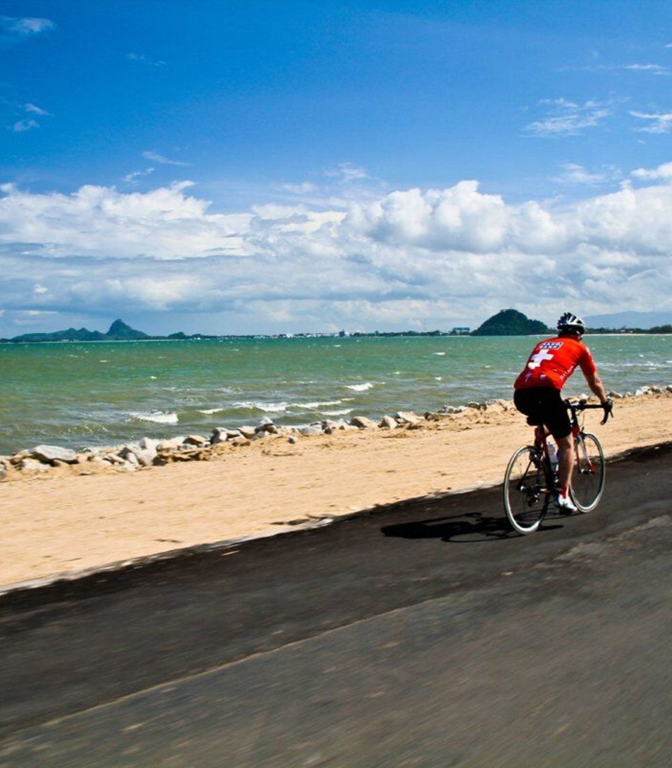 Feel entranced by the captivating views as you pedal beside the great blue