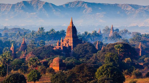 Visit the stunning pagodas and temples at the coolest part of the day
