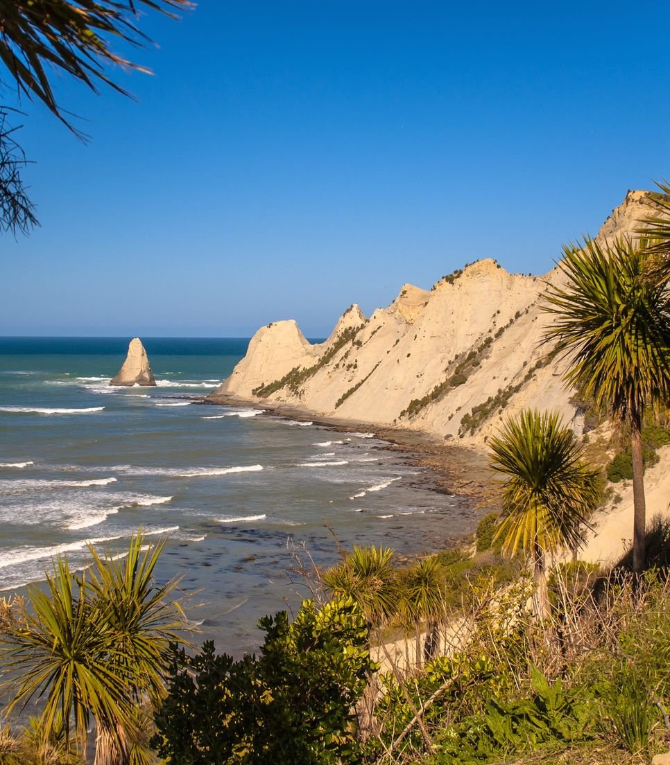 Ride along the coastal trail and catch awesome views, such as the one out to Cape Kidnappers