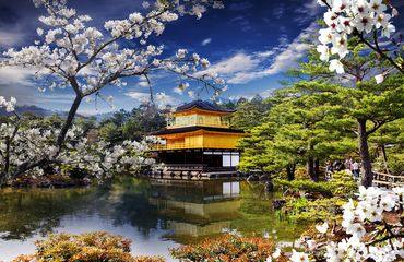 Golden temple on lake in Kyoto