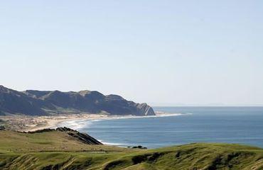 Panoramic view of coastal bay