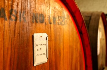 Close up of wine barrel