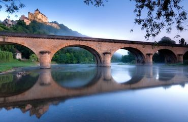 Bridge over river with glassy reflection