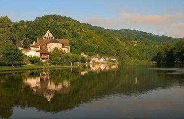 Rural village on a lake