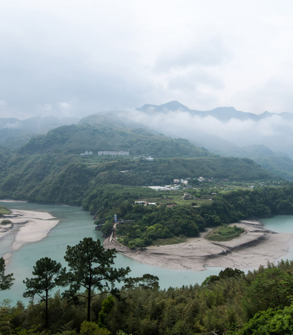 See beautiful river vistas along the route through the mountains of Taiwan
