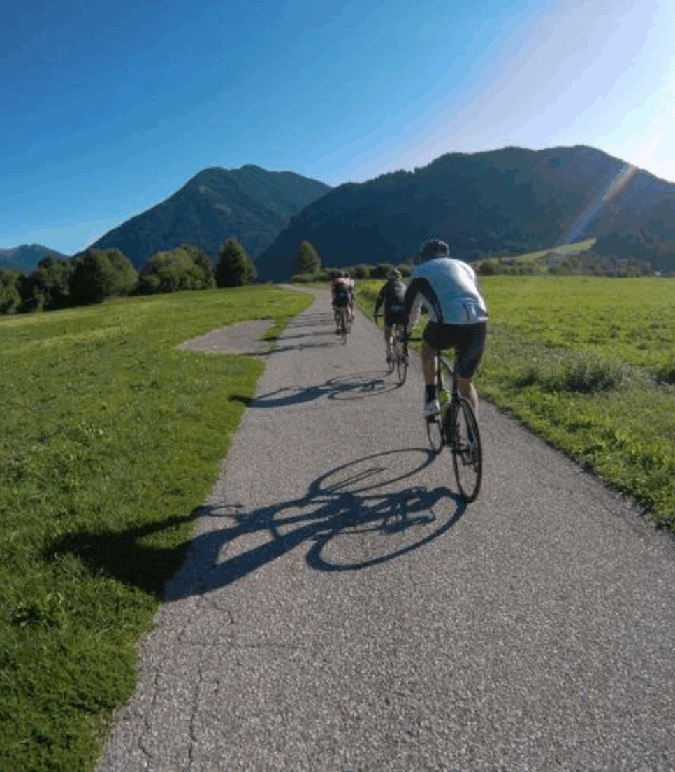 Feel the energy and pull of the rising mountains as you cycle in awe of them
