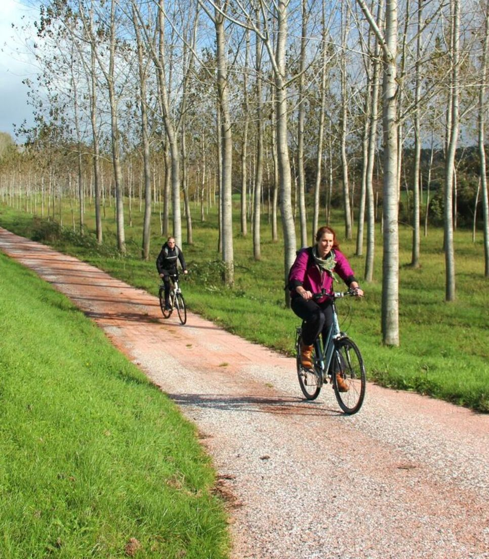 Enjoy the cycle tracks and quiet roads that line the route