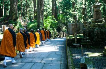 Monks walking
