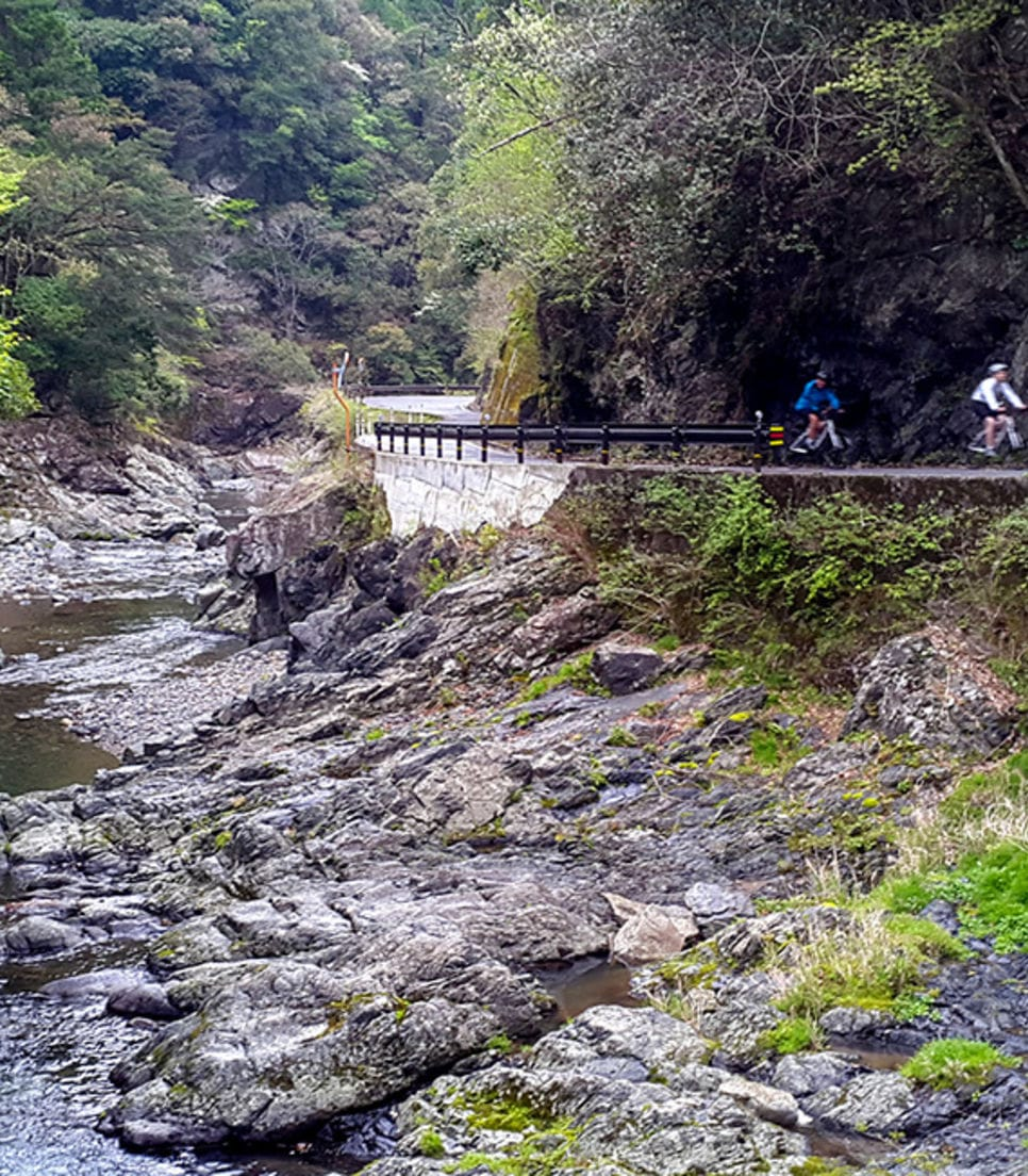 Cycle on smooth road surfaces long with fantastic surroundings
