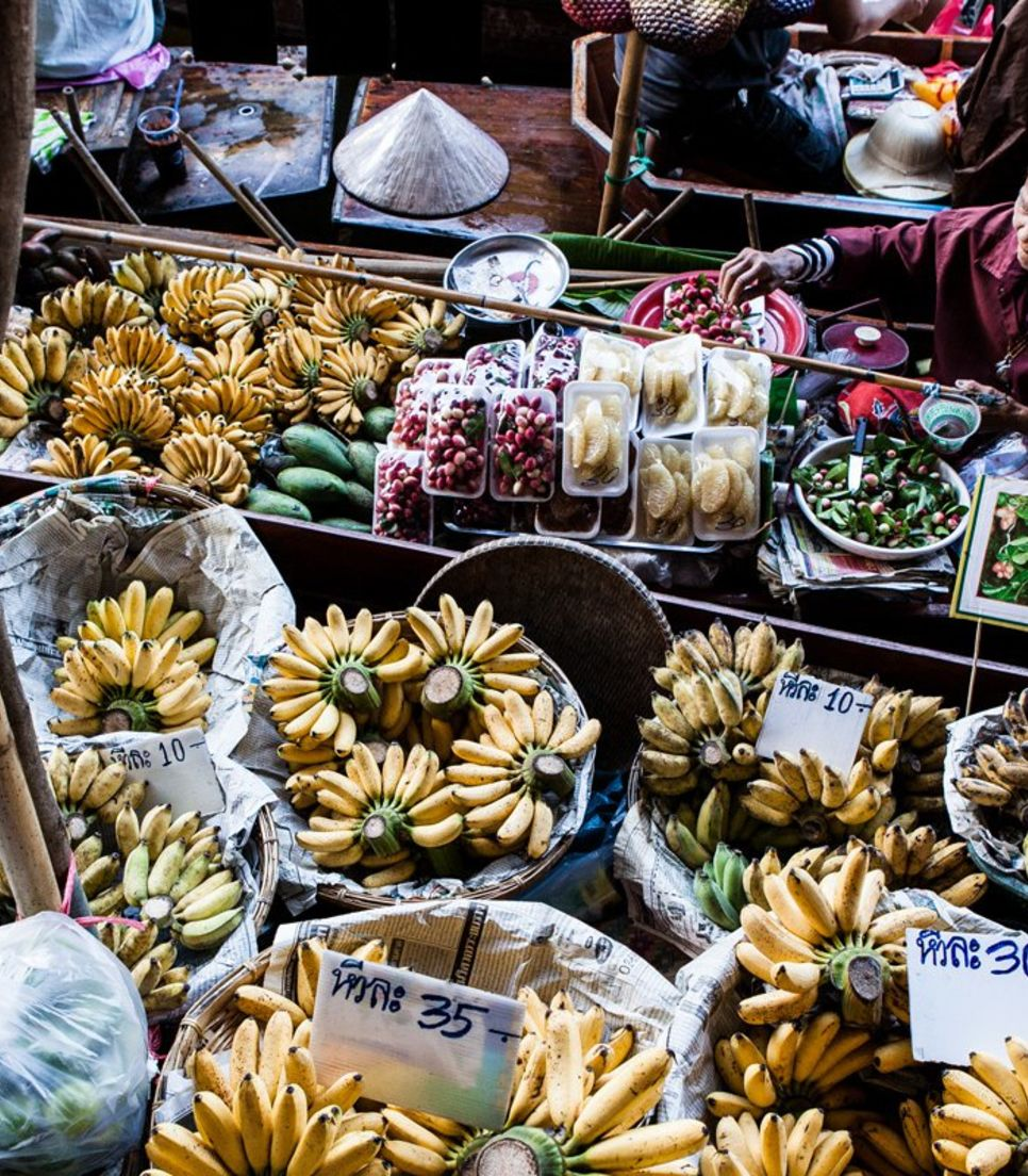 A cornucopia of choices from the region's selections of fruits, vegetables, and other delicacies can be found at the floating market