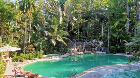 Sleep in rustic accommodations that's surrounded by a tropical forest and boasts an inviting pool
