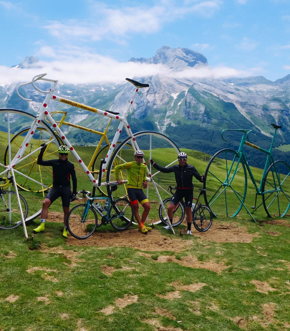 Like a child in a candy store, enjoy the cycling memorabilia scattered around the Pyrenees